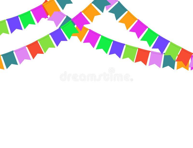 Guirlande des drapeaux de partie de couleur d'isolement sur le fond blanc illustration stock