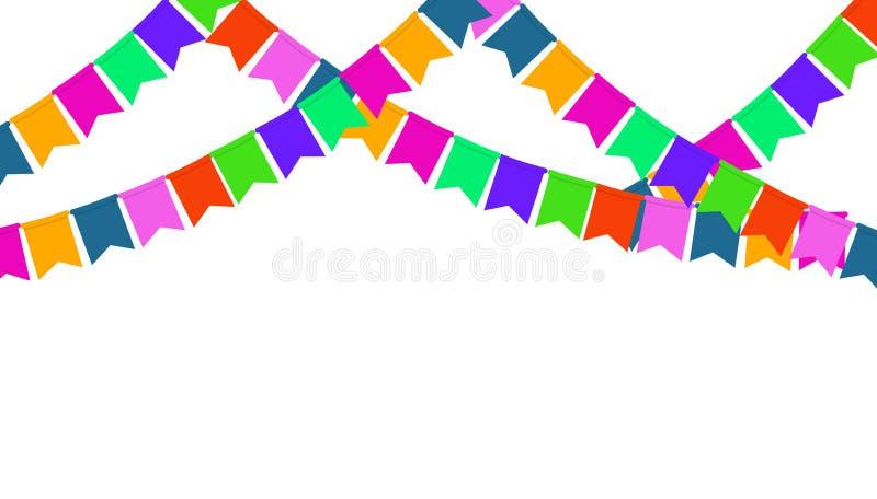 Guirlande des drapeaux de partie de couleur d'isolement sur le fond blanc illustration de vecteur