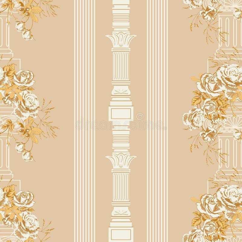 Guirlande des fleurs d'or de roses et de la colonne architecturale de cru illustration stock