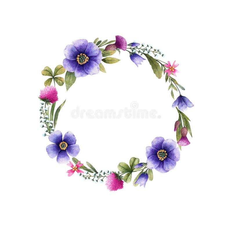 Guirlande des fleurs de pré dans l'aquarelle illustration stock