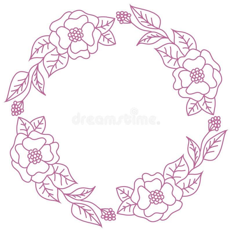 Guirlande des fleurs roses sur un fond blanc Cadre rond pour le label illustration libre de droits