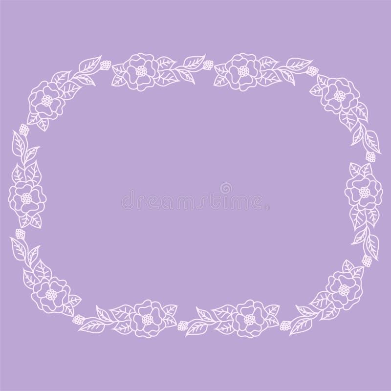 Guirlande des fleurs roses sur un fond mauve-clair illustration stock