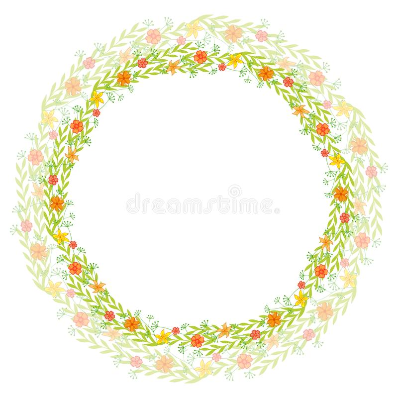 Guirlande des fleurs sauvages avec des feuilles Un cadre rond floral avec un endroit pour votre texte Approprié aux cartes de voe illustration stock