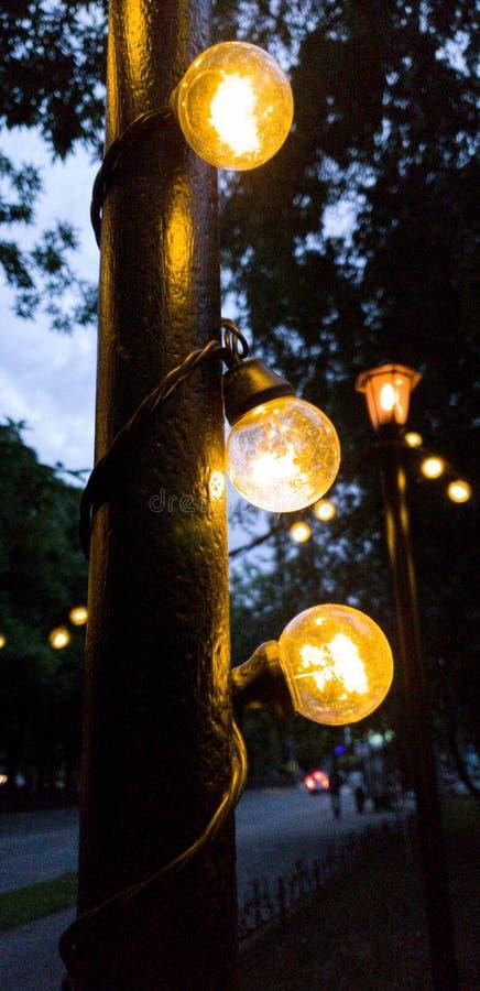 Guirlande des lampes sur des réverbères Ville de soir?e photo libre de droits