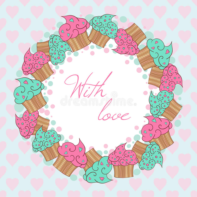 Guirlande des petits gâteaux Avec la carte d'amour illustration stock