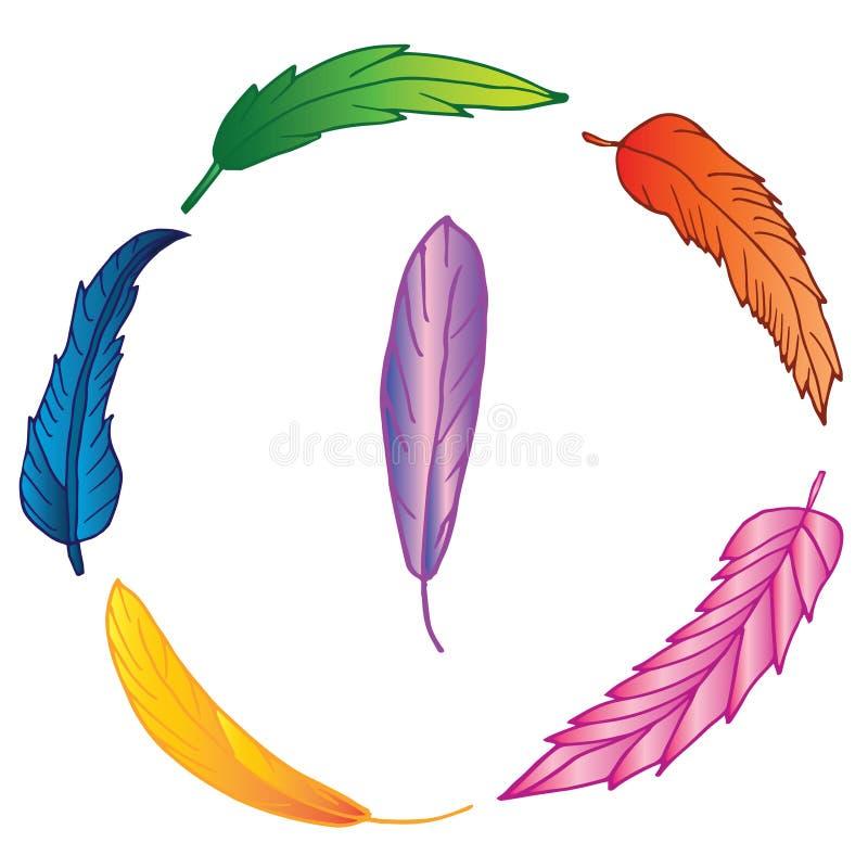 Guirlande des plumes tirées par la main colorées photographie stock