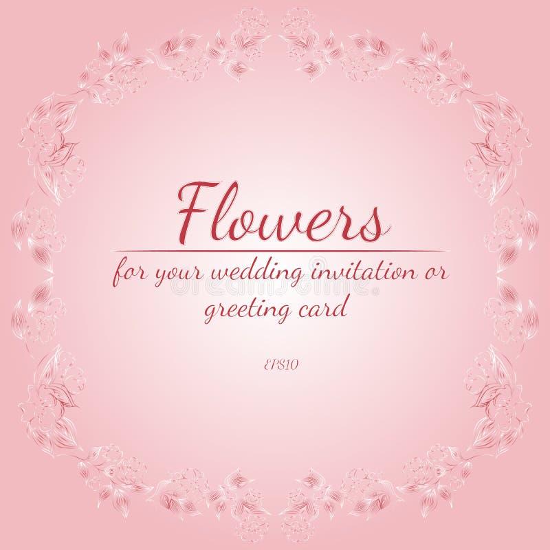 Guirlande des roses ou des fleurs de pivoines avec l'azal?e, p?le - couleurs de rose et blanches ?l?ments floraux de conception d illustration stock