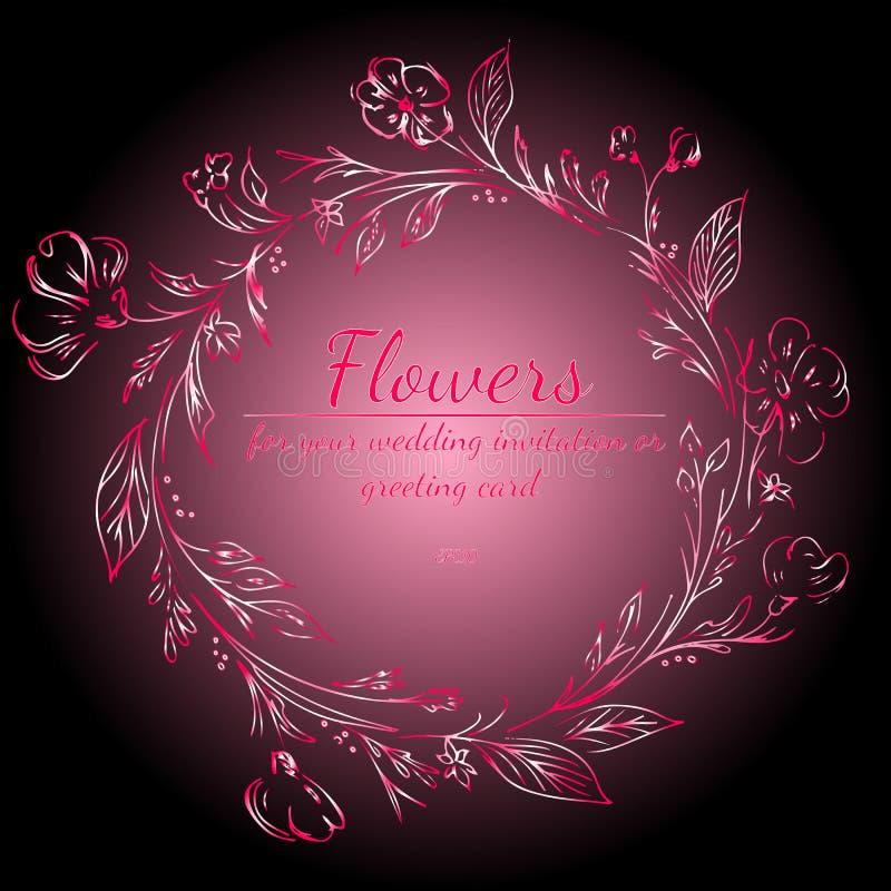 Guirlande des roses ou des fleurs de pivoines avec le gradient du clinquant, rouge, rose, Ruby Colors antique ?l?ments floraux de illustration de vecteur