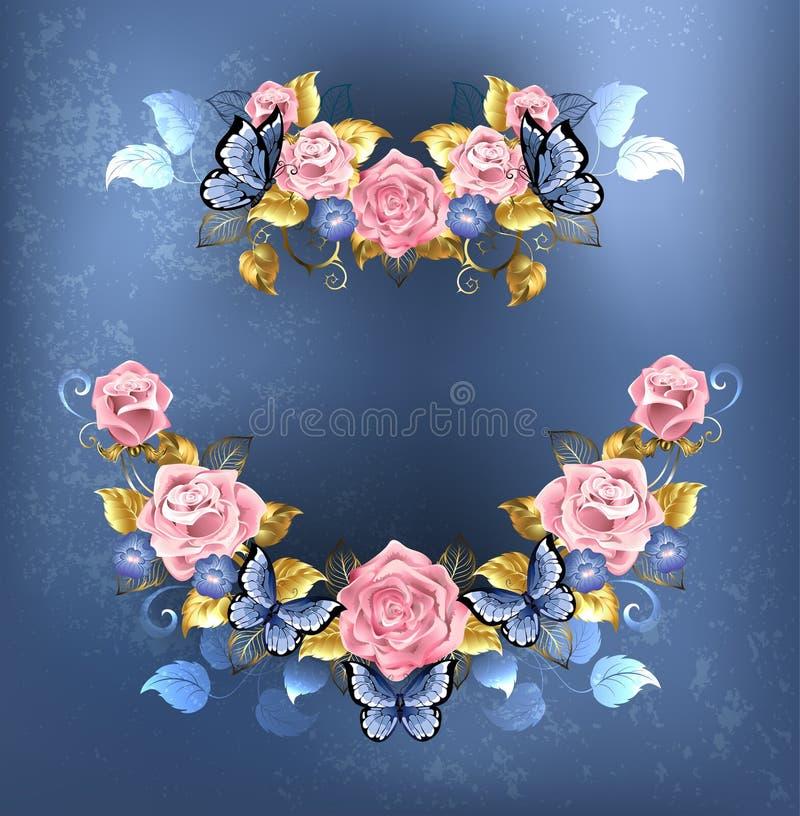 Guirlande des roses roses illustration de vecteur