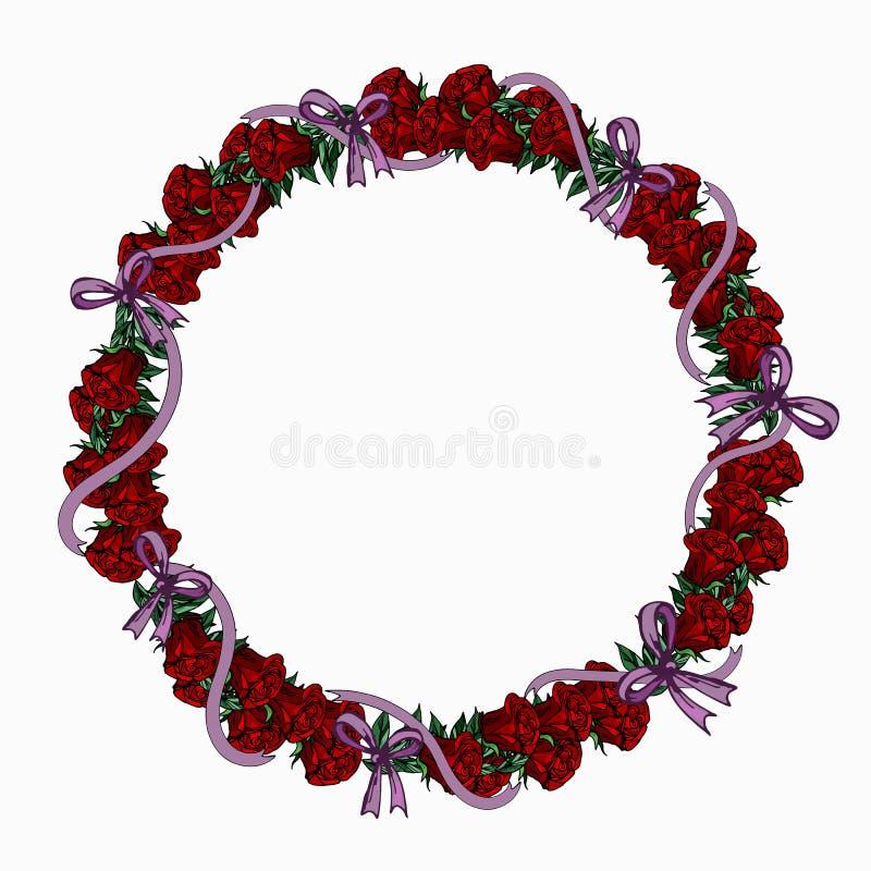 Guirlande des roses rouges et des rubans lilas illustration de vecteur