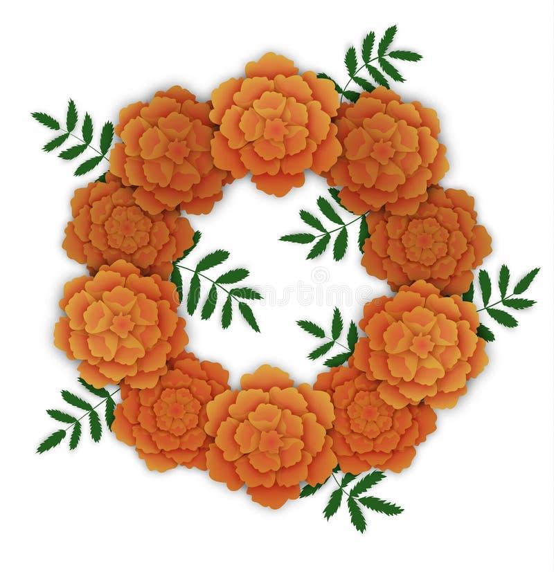 Guirlande des soucis oranges illustration libre de droits