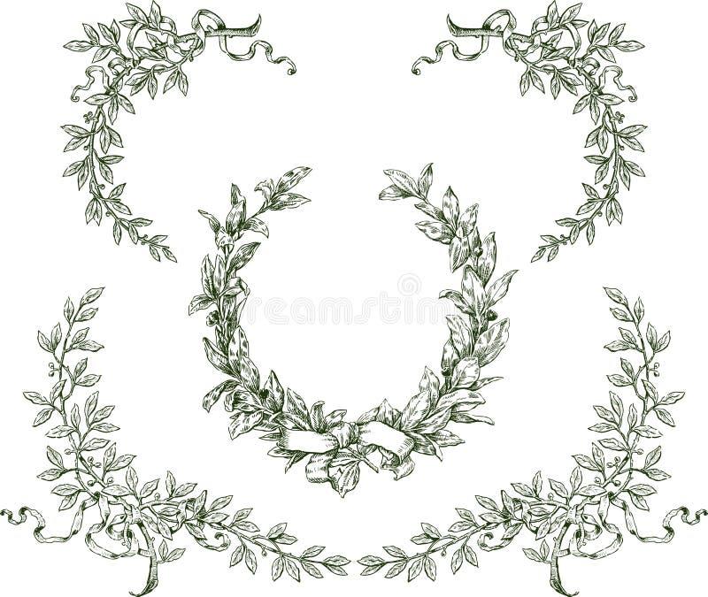 Guirlande et branches de laurier images stock