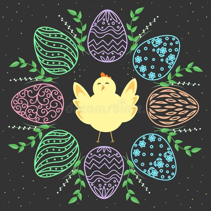 Guirlande et poussin de Pâques Oeufs avec la conception florale Fond sans joint de vecteur illustration de vecteur