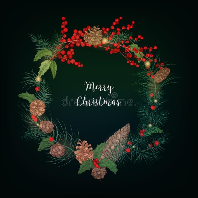Guirlande faite de groupes de baies de sorbe, branches des arbres coniféres, cônes, feuilles de houx et décorée de la lumière illustration stock