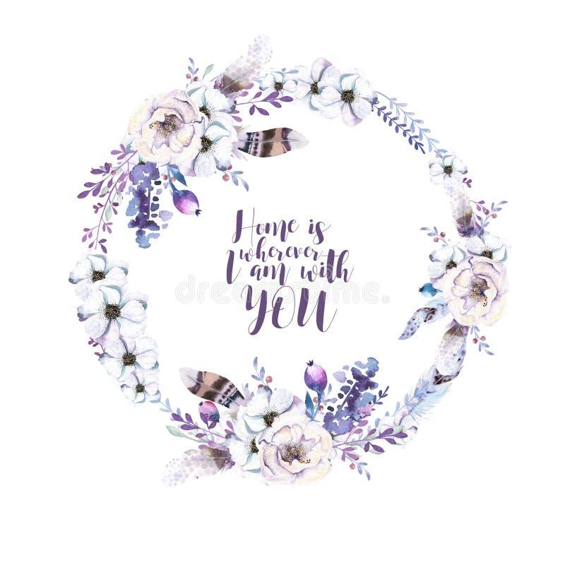 Guirlande florale d'aquarelle Cadre naturel pour aquarelle : feuilles, fea illustration stock