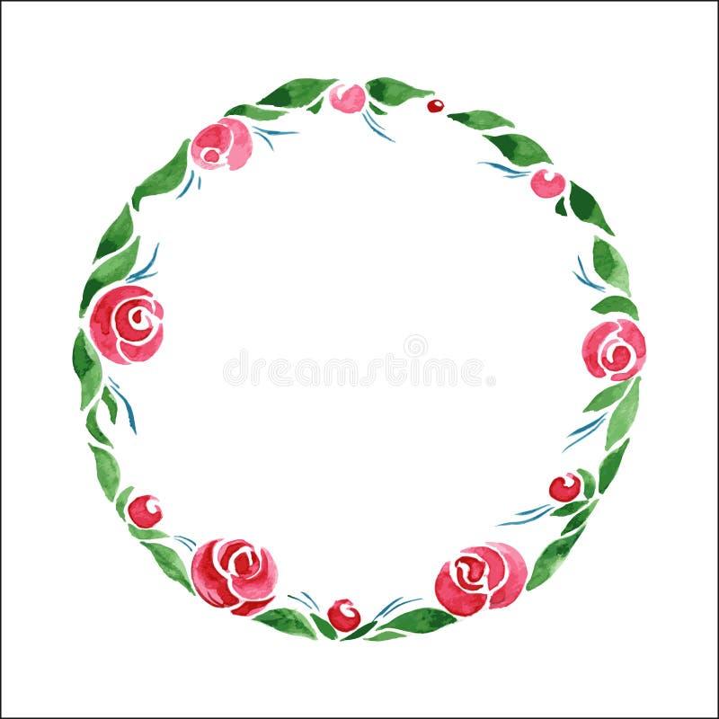 Guirlande florale d'aquarelle Vue des fleurs et des feuilles roses de vert Vecteur illustration stock