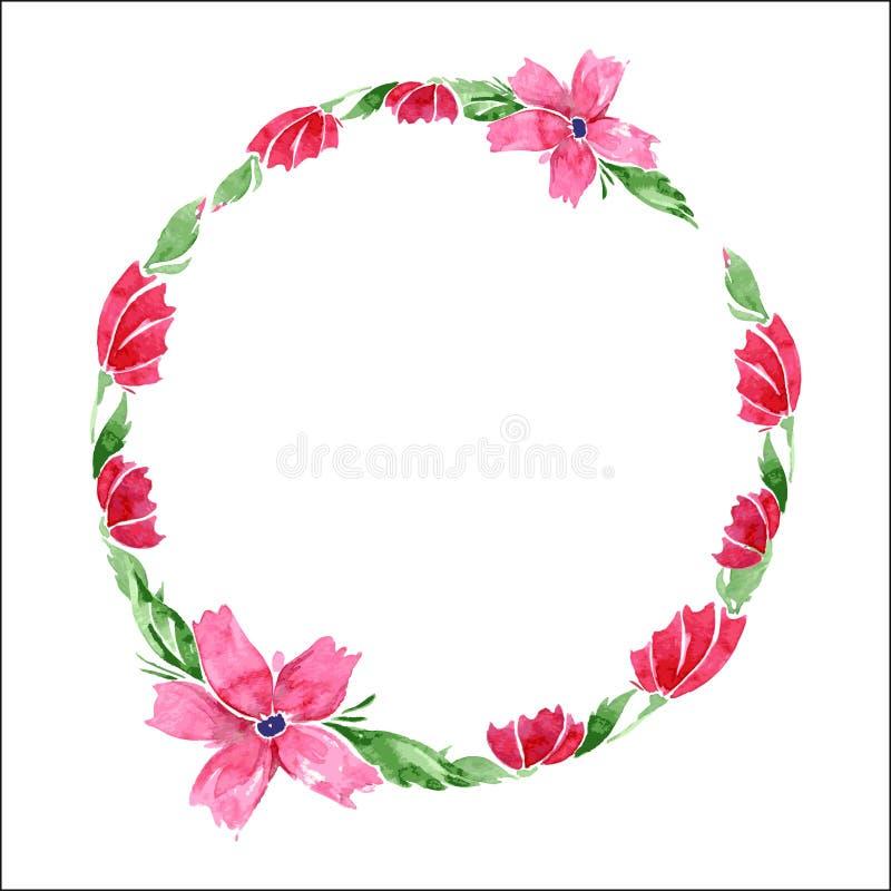 Guirlande florale d'aquarelle Vue des fleurs et des feuilles roses de vert Vecteur illustration de vecteur