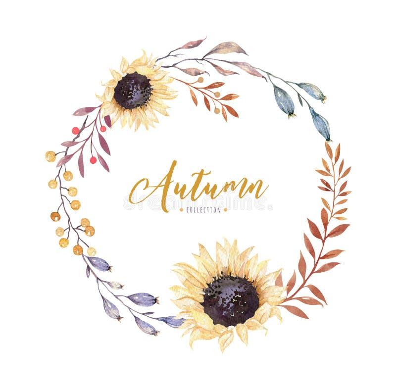 Guirlande florale de fleur de boho d'aquarelle Cadre naturel pour aquarelle : feuilles, plume et oiseaux D'isolement sur le fond  illustration libre de droits