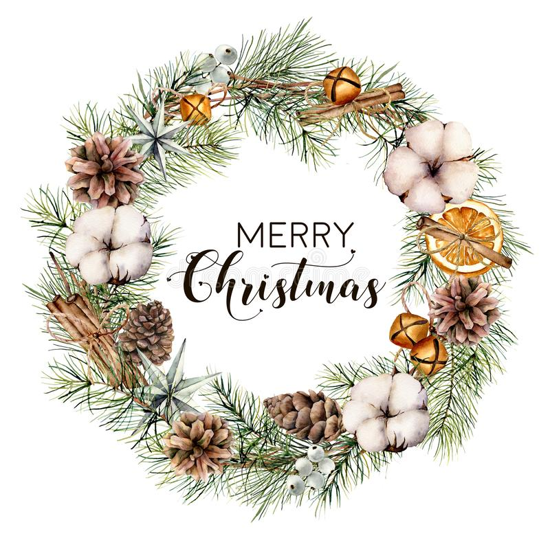Guirlande florale de Joyeux Noël d'aquarelle Frontière peinte à la main de sapin avec des cônes, coton, tranches oranges, cloches illustration stock