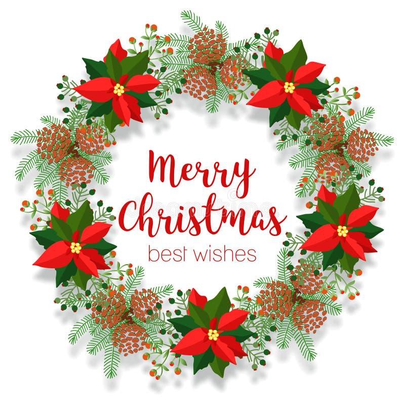 Guirlande florale de Noël, cadre rond, bannière vide, clipart (images graphiques) de poinsettia, illustration de vecteur sur le b illustration stock