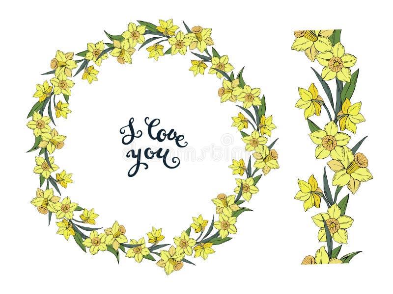 Guirlande florale de vecteur avec le narcisse jaune et brosse horizontale sans couture avec des fleurs d'isolement sur un fond bl illustration stock