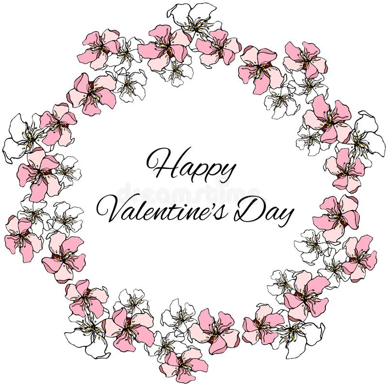 Guirlande florale de vecteur de couleurs de rose et blanches pour des salutations de Saint-Valentin de St illustration stock
