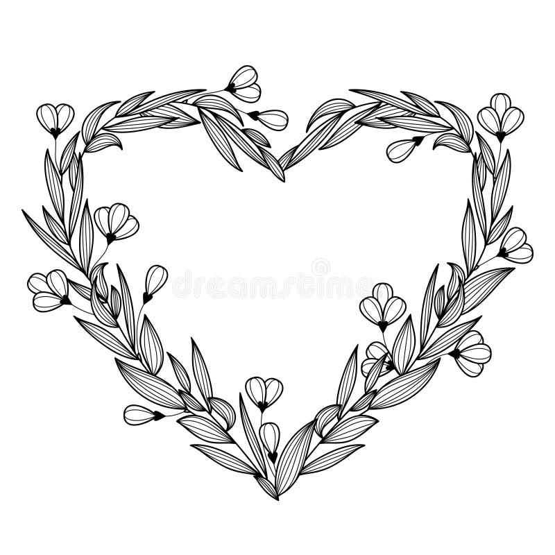 Guirlande florale de vintage tiré par la main sous forme de coeur Vecteur i illustration de vecteur