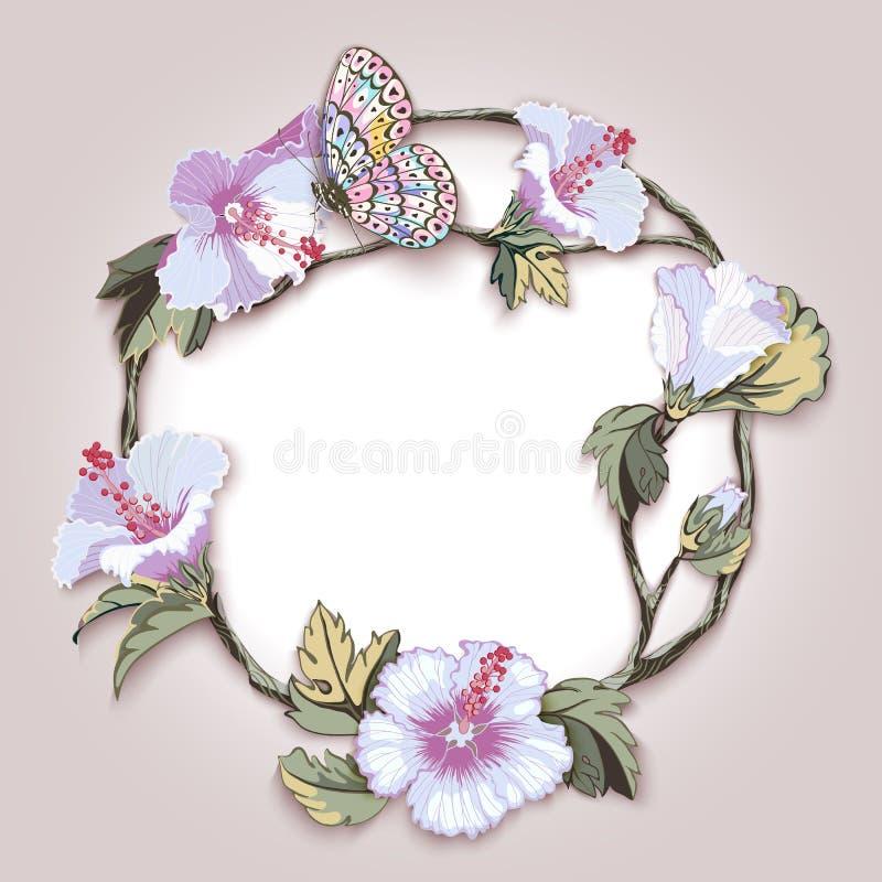 Guirlande florale des fleurs de ketmie et des feuilles et papillon tropicaux illustration de vecteur