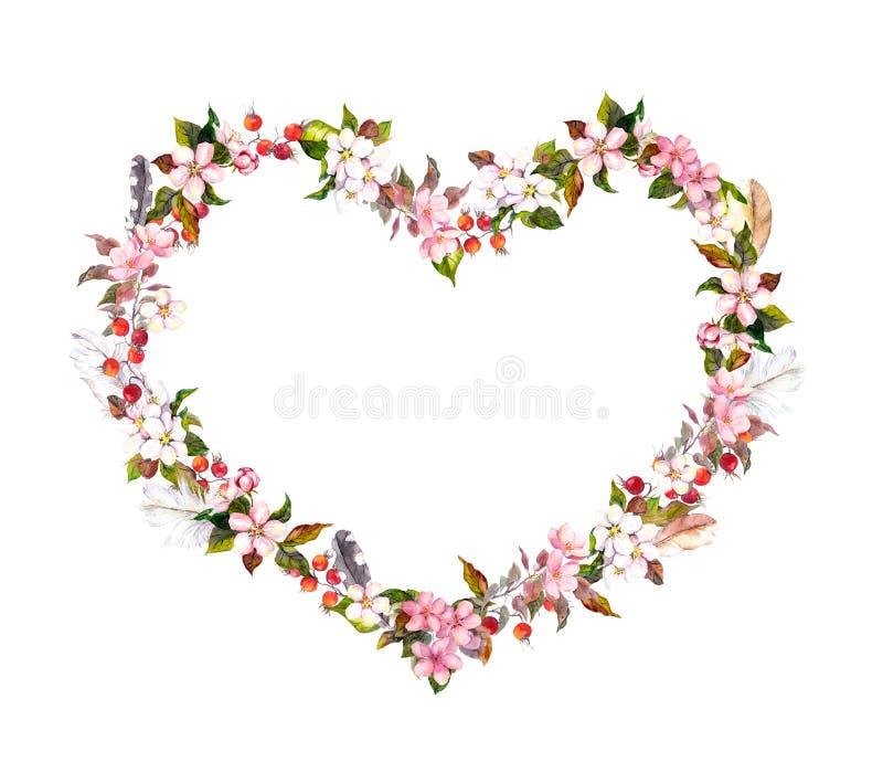 Guirlande florale - forme de coeur Fleurs roses, plumes de boho Aquarelle pour le Saint Valentin, épousant image stock