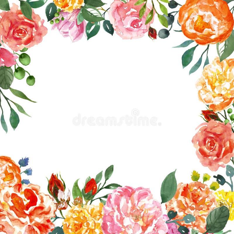 guirlande florale Pré-faite avec les pivoines de corail et les roses roses Le calibre floral de cadre d'aquarelle pour épouser de illustration de vecteur
