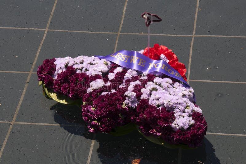 Guirlande formée comme un avion flottant dans la piscine du souvenir chez ANZAC Memorial, Hyde Park photo libre de droits