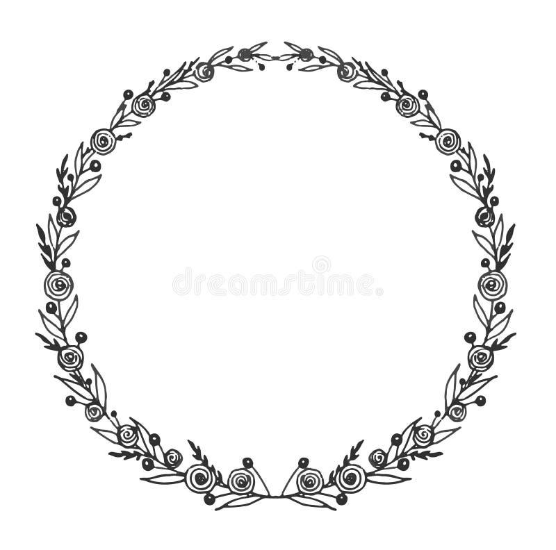 guirlande noire et blanche Guirlande tirée par la main florale Feuillage et illustration botanique illustration libre de droits
