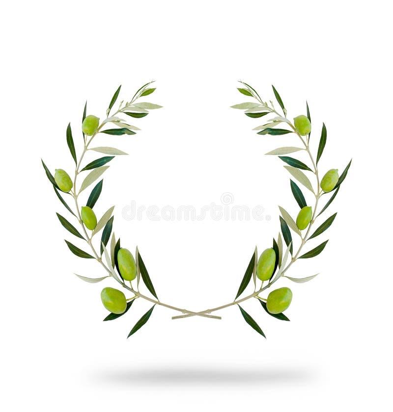 Guirlande olive ronde avec les fruits verts photo stock