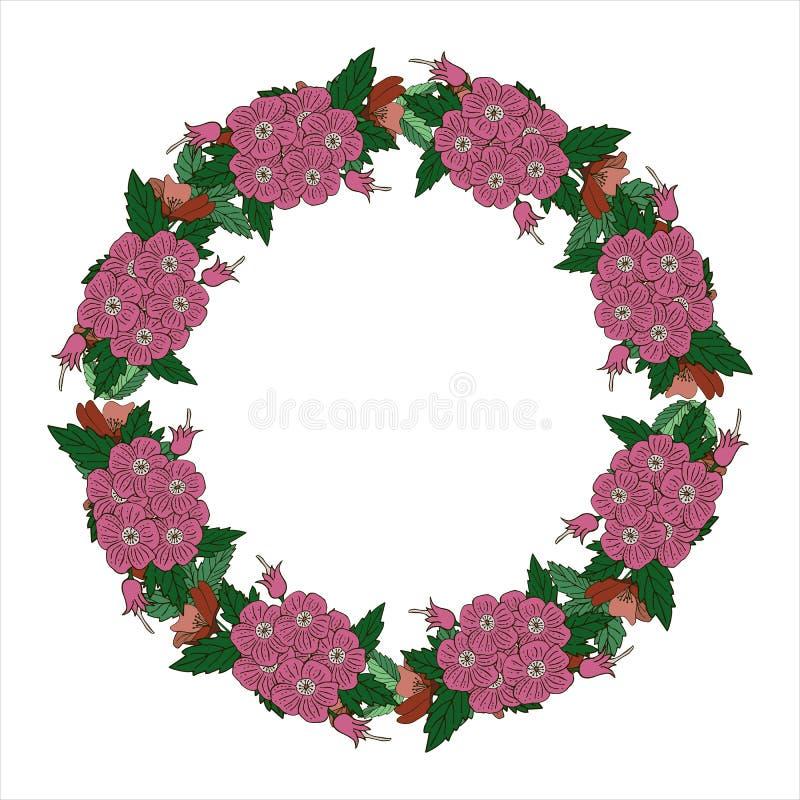 Guirlande romantique avec des fleurs et des feuilles ?l?ments romantiques de vecteur pour la carte Sauvez la date et l'invitation photo libre de droits