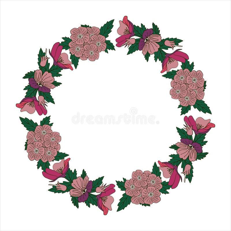 Guirlande romantique avec des fleurs et des feuilles ?l?ments romantiques de vecteur pour la carte Sauvez la date et l'invitation photos libres de droits