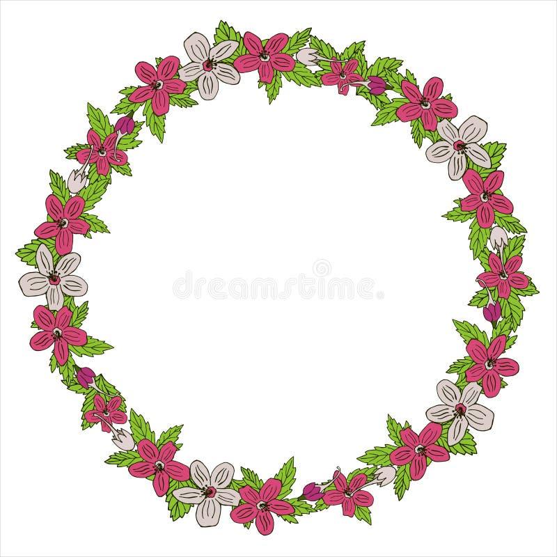 Guirlande romantique avec des fleurs et des feuilles ?l?ments romantiques de vecteur pour la carte Sauvez la date et l'invitation image stock