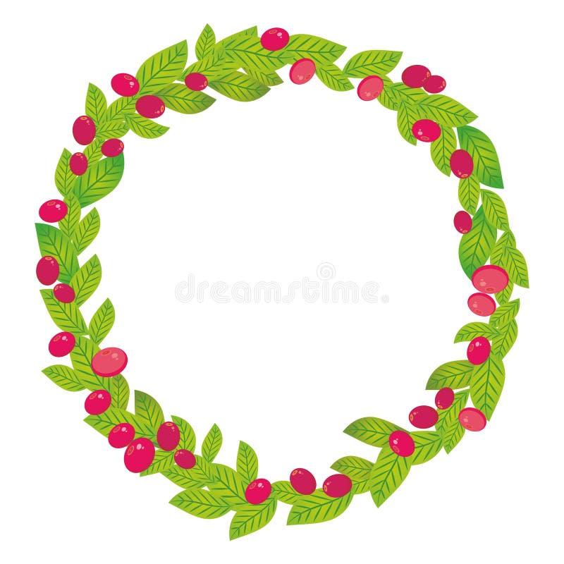 Guirlande ronde avec des feuilles de vert et des baies juteuses fraîches d'airelle rouge rose rouge de canneberge d'isolement sur illustration libre de droits