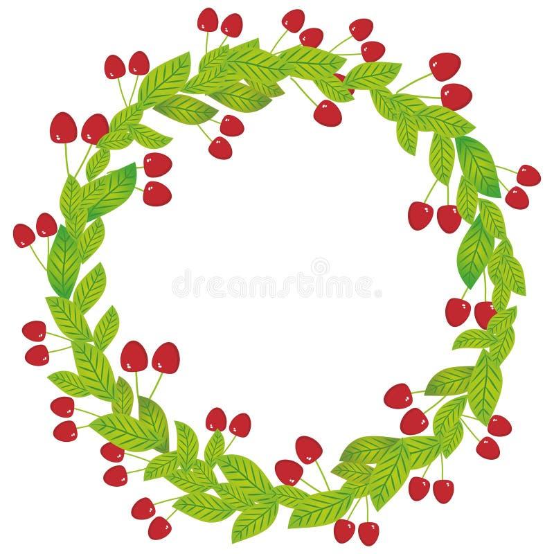 Guirlande ronde avec des feuilles de vert et des baies juteuses fraîches de cerise rouge d'isolement sur le fond blanc Vecteur illustration de vecteur