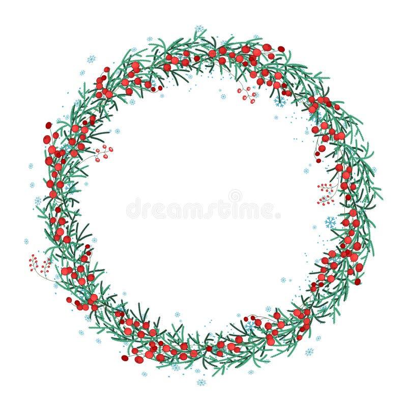 Guirlande ronde de Noël avec les branches et les flocons de neige impeccables sur le blanc illustration stock