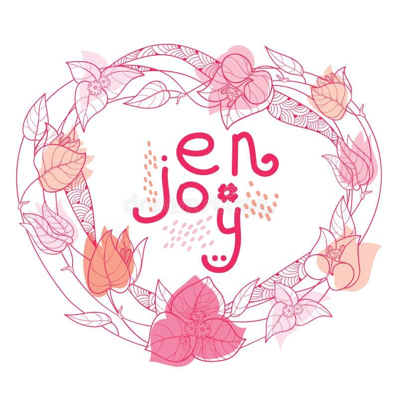 Guirlande ronde de vecteur de la fleur de bouganvillée ou de Buganvilla d'ensemble, du bourgeon et de la feuille dans le rose en  illustration libre de droits