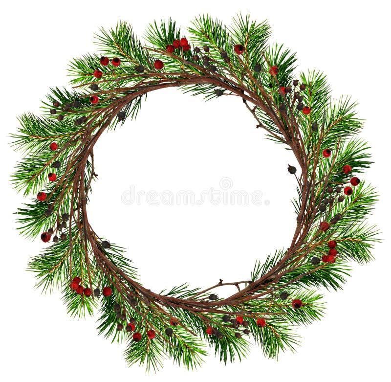 Guirlande ronde des branches sèches de brindilles et d'arbre de Noël avec le bla photo libre de droits