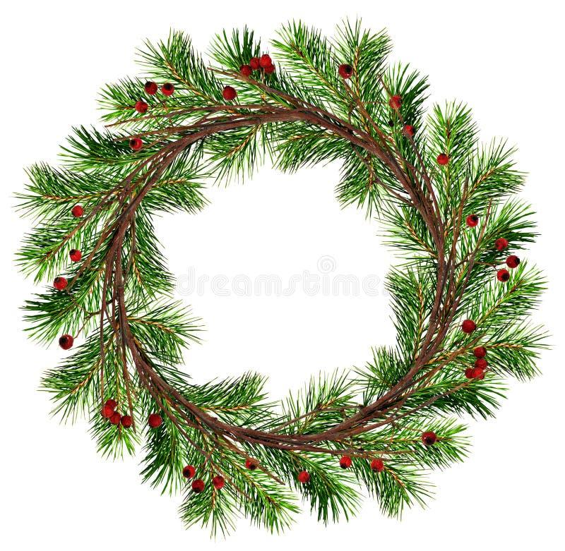 Guirlande ronde des branches sèches de brindilles et d'arbre de Noël avec le rouge photographie stock libre de droits