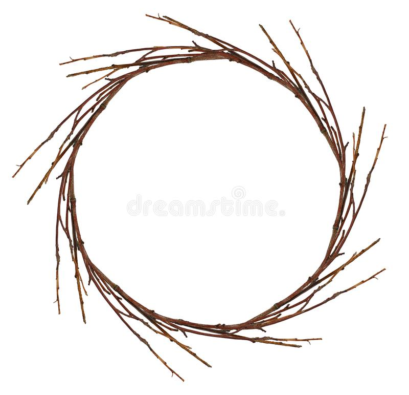 Guirlande ronde des brindilles sèches image libre de droits