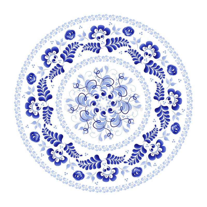 Guirlande ronde des fleurs dans le style folklorique russe Gzhel illustration stock
