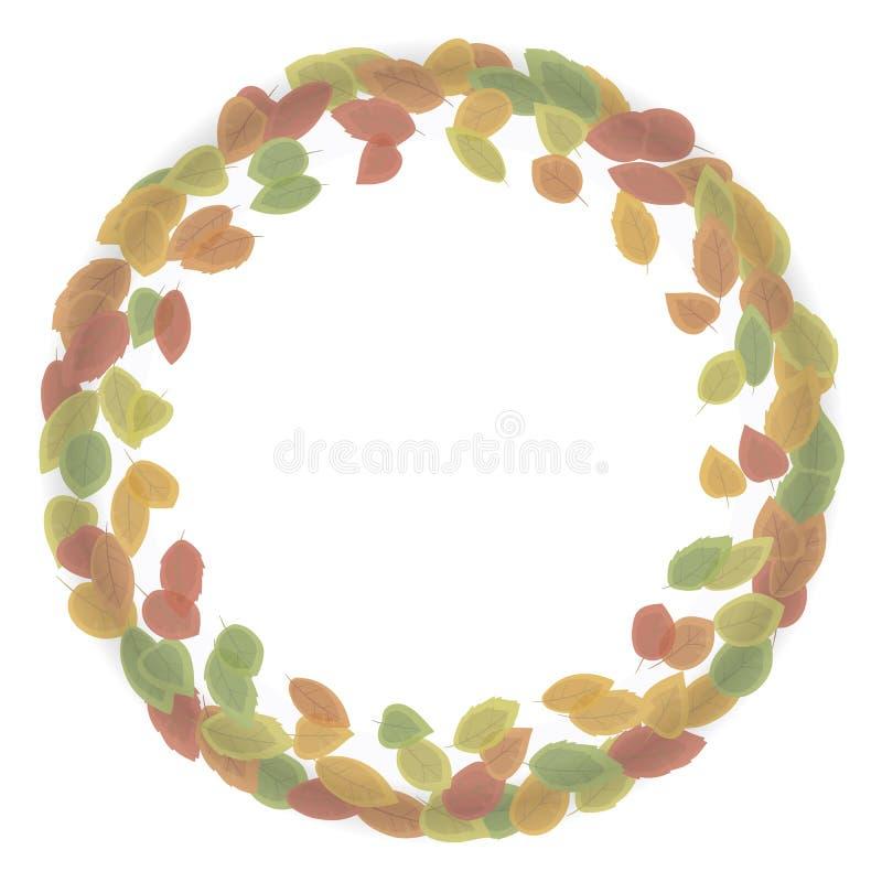 Guirlande ronde faite à partir des feuilles d'automne de rouge, jaunes, vert avec l'ombre d'isolement sur l'illustration blanche  illustration libre de droits