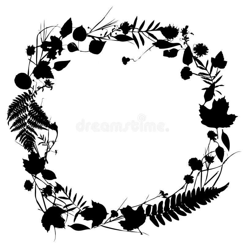 Guirlande ronde florale de cadre des fleurs, conception naturelle illustration stock