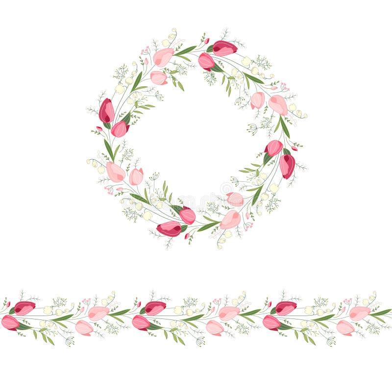 Guirlande ronde florale et brosse sans fin de modèle faites de tulipes rouges et roses illustration libre de droits