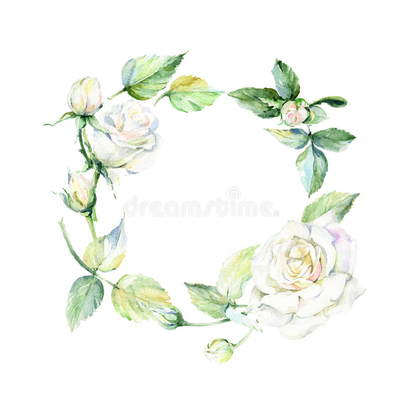 Guirlande rose de fleur de Wildflower dans un style d'aquarelle illustration libre de droits