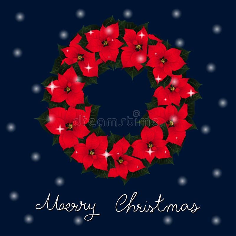 Guirlande rouge de poinsettia et carte de voeux blanche de Noël de neige sur le fond bleu Illustration de vecteur illustration libre de droits