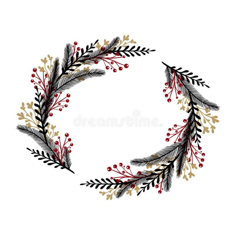 Guirlande tirée par la main avec les baies rouges Le cadre rond pour des cartes de Noël et l'hiver conçoivent D'isolement sur le  illustration de vecteur